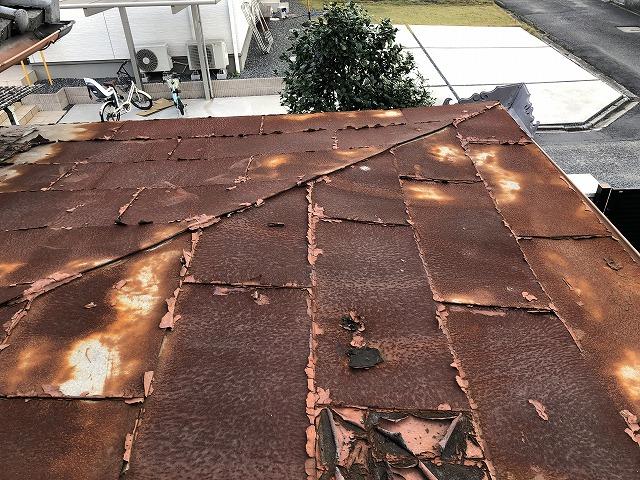 錆の発生した板金屋根
