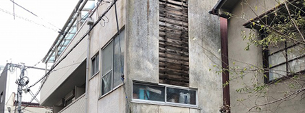 外壁モルタルの落下