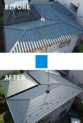 スーパーガルテクトを使用した屋根の施工実績